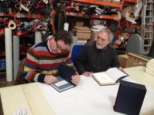 Rob Smith and Paul collect the de luxe copies of The North Country Fly from the bookbinders.