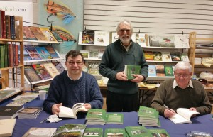 Colin Innes, Paul Morgan and Keith Harwood at the launch of the Angling Monographs Series, BFFI, Stafford, 2016.