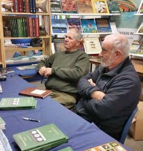 Authors Philip White and Peter Hayes on the Coch-y-Bonddu Books stand at the BFFI.